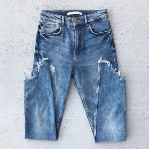 Zara High Rise Distressed Acid Wash Jeans